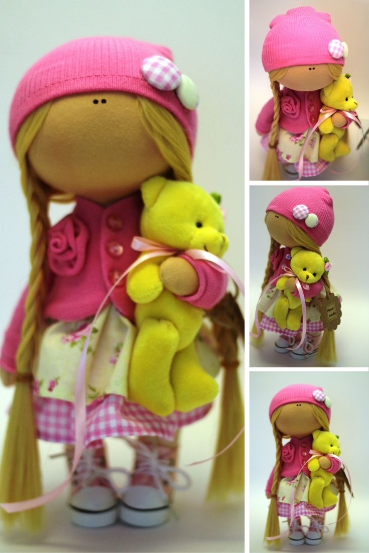 Baby doll Fabric doll Spring doll handmade yellwo pink color Soft doll Cloth…