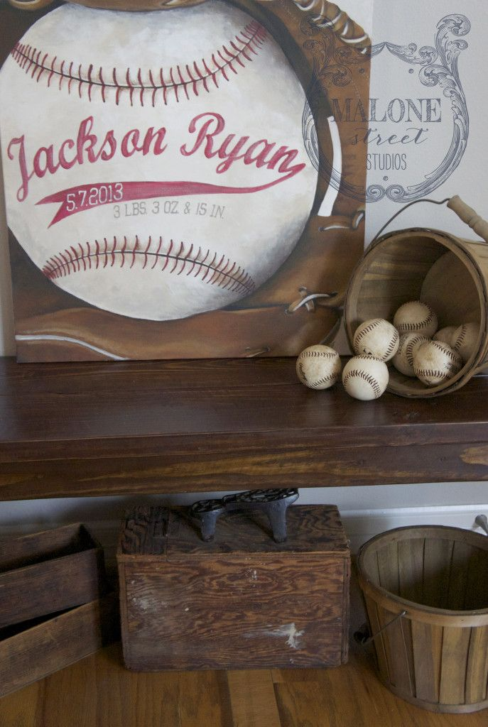 Malone Street Studios | celebrate life's moments – a vintage inspired baseball nursery painting | vintage sports themed nursery