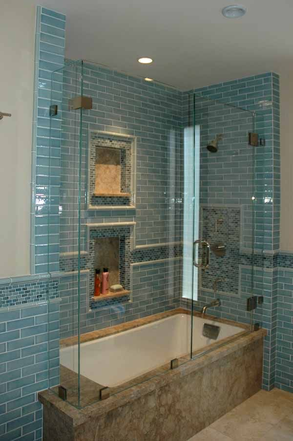 Shower Tub Combo Enclosures | would have different colors, but this gives the idea. Tile & frameless doors