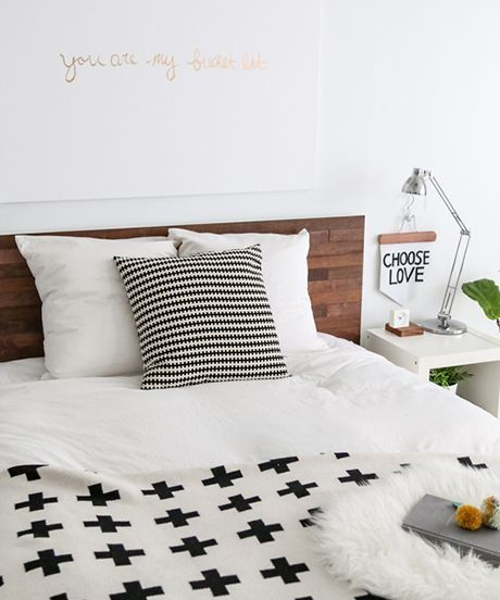 IKEA Headboard Stikwood DIY For Beds, Furniture   This easy DIY hack from blogger Sugar & Cloth transforms your headboard from plain to fab. #refinery29 http://www.refinery29.com/stikwood-ikea-headboard-hack