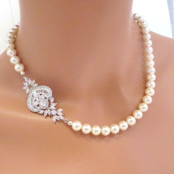 Bridal pearl necklace, Crystal bridal necklace, Rhinestone wedding necklace, Bridal jewelry, Vintage inspired necklace