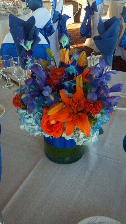 Blue and orange wedding centerpiece