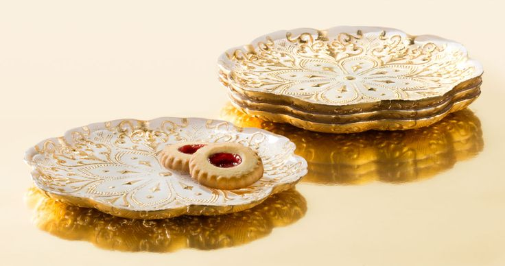 Gold and Cream Glass Dessert Plates- Set of 4, Accessories, Tabletop, Home Furnishings, Home - The Museum Shop of The Art Institute of Chicago