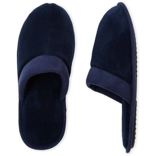 Dearfoams Plush Slippers ($9.99) ❤ liked on Polyvore featuring men's fashion, men's shoes, men's slippers, blue, mens slip on slippers, mens blue shoes, mens slip on shoes, mens round toe dress shoes and mens blue slip on shoes