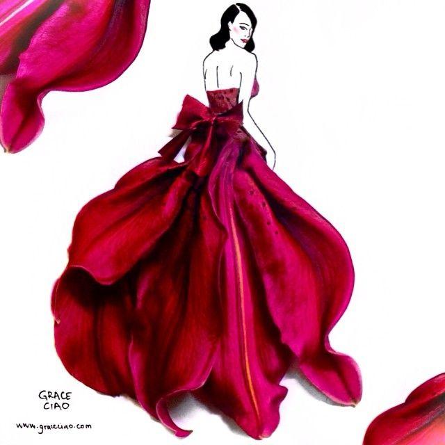 Real Flower Petals Create Elegant Fashion Design Illustrations