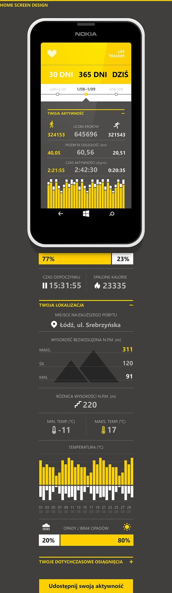 Life Tracker #App on #Behance #lumia #WP #smart