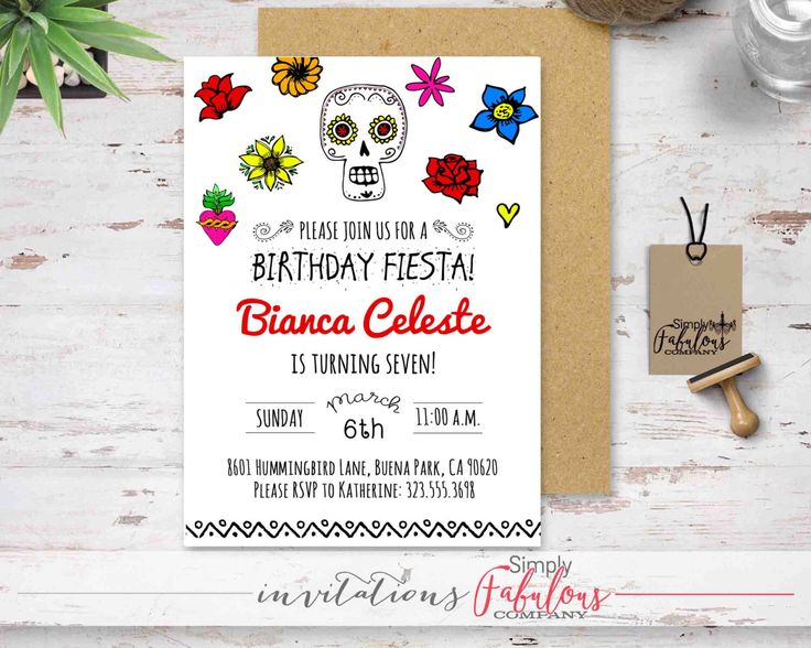 Sugar Skull Mexican Fiesta Invitation - Birthday Fiesta Invitation - Bridal Fiesta Invitation - Baby Shower Fiesta Invitation DIGITAL FILE by SimplyFabulousCo on Etsy https://www.etsy.com/listing/271007368/sugar-skull-mexican-fiesta-invitation