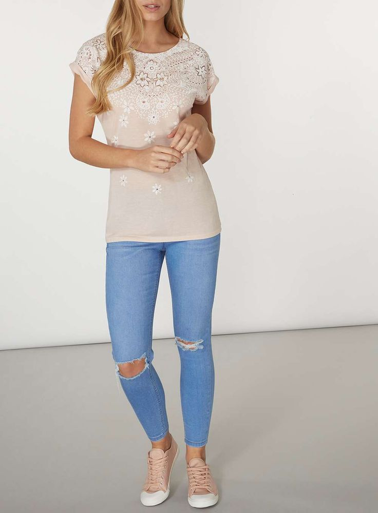 Womens Nude Puff Print T-Shirt- Pink