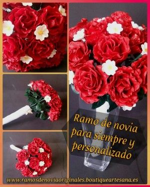 Ramo de novia rosas rojas. Flor porcelana