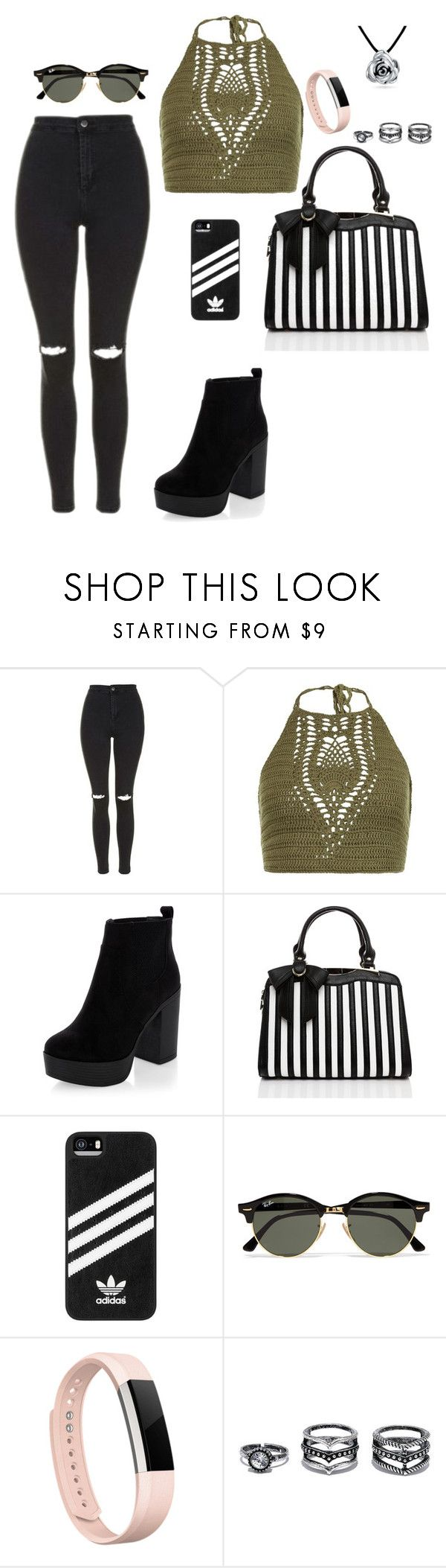 """Look but don't touch"" by foreverfashionqueen ❤ liked on Polyvore featuring Topshop, New Look, adidas, Ray-Ban, Fitbit, Lulu*s and Bling Jewelry"