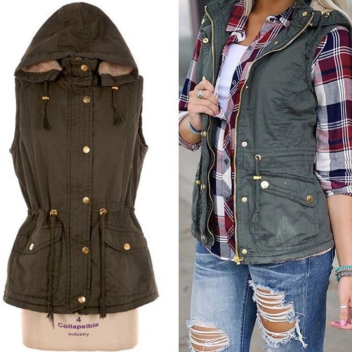 Sleeveless hooded woven vest jacket with lining included, fastening snap button overlaid on zipper, fur in the detachable hoodie, adjustable strap at hoodie-line and waist, two-side pockets Small 0-4,