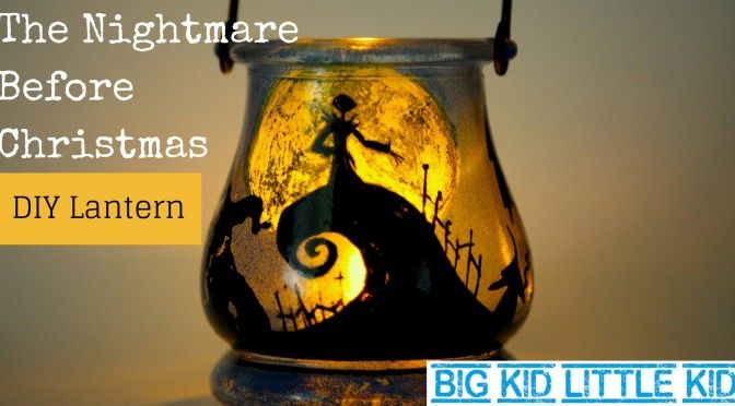 Nightmare Before Christmas themed DIY lantern - easy to make and fun to use. See the movie inspired silhouettes glow.