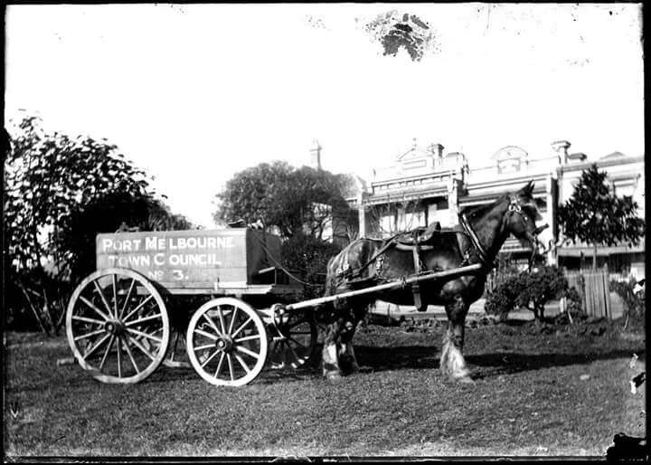 Horse drawn wagon owned by Port Melbourne City Council in 1910.