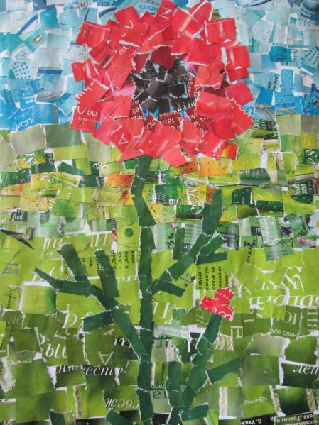 torn paper collage