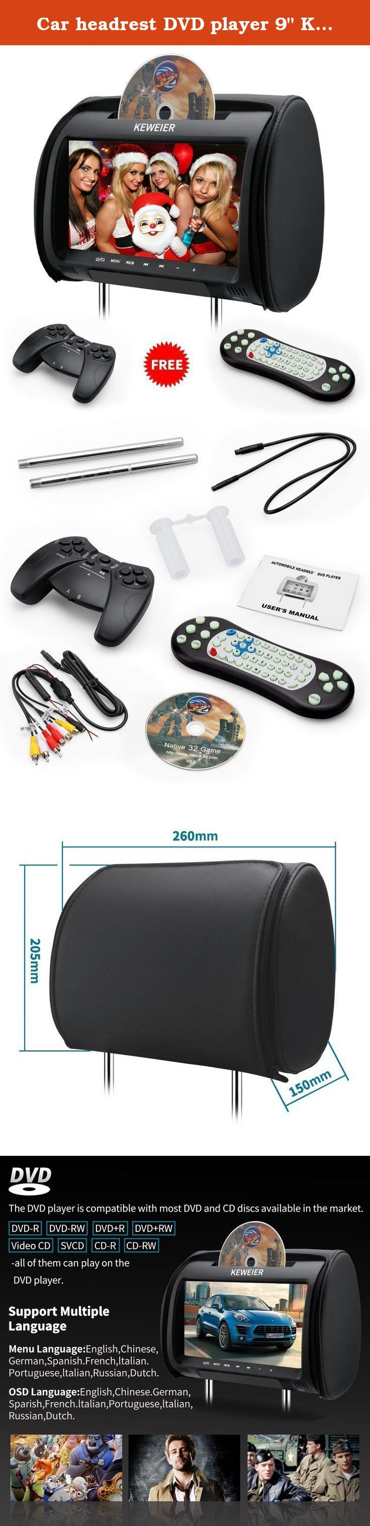 """Car headrest DVD player 9"""" KEWEIER HD TFT Screen Portable car dvd player with FM Game Disc Mp3 wireless Game pad (DVD 1 PCS ). 1 PCS headrest dvd Features: Enjoy your favourite videos by the digital screen (resolution: 800*480) USB Port: Supports USB drive and MP3 player with the maximum capacity of 32GB SD Card Slot: Supports SD & SDHC card with the maximum file limitation of 4GB *able to read 32GB SDHC card Compatible Format :(both USB&SD) DIVX/MPEG/DAT/MOV/VCD/XVID/MP3/WMA/JPEG..."""