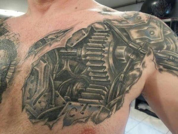 Biomechanical tattoo - 25 Awesome Steampunk tattoo designs  <3 <3