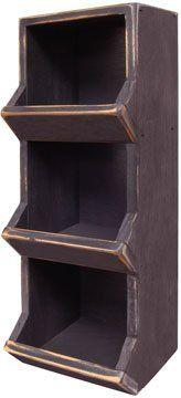 Amazon.com: Bin Shelf Vertical Primitive Country Rustic Black: Home & Kitchen