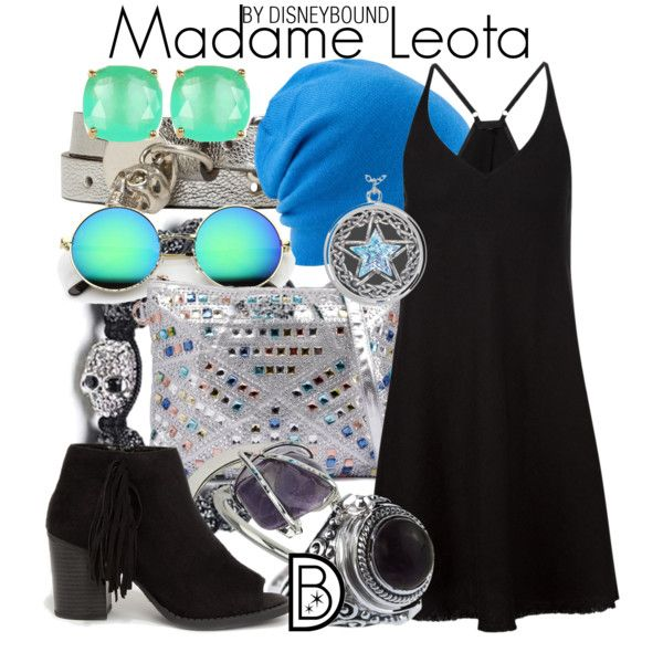 Madame Leota by leslieakay on Polyvore featuring ATM by Anthony Thomas Melillo, Soda, Alexander McQueen, Bling Jewelry, Kate Spade, Topshop, Coal, disney, disneybound and disneycharacter