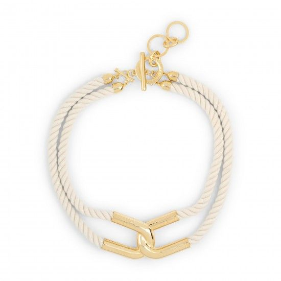 gold and white sailor knot necklace
