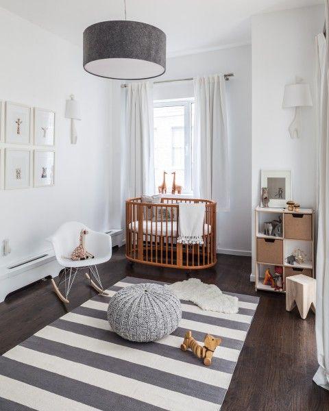 gray, white and wood nursery