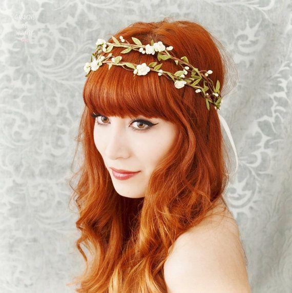 Boho bridal crown, flower hair wreath, woodland headpiece, wedding hair accessories. $64.00, via Etsy. (Tie on back.) <3