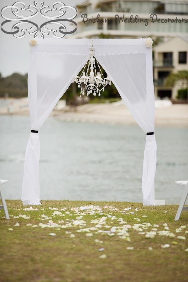 Brisbane Wedding Decorators Unique Custom Made Elegant Arch With Soft Chiffon Drapes Tied Black Ribbons