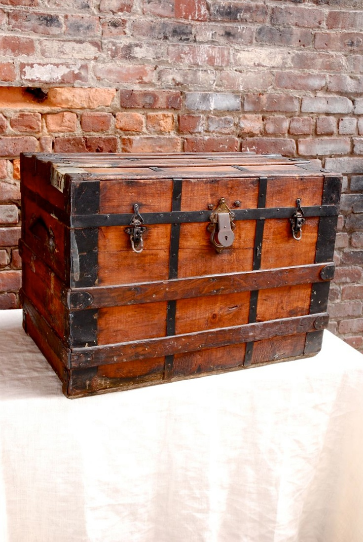 Antique Wood Steamer Trunk - what a wonderful patina of age.