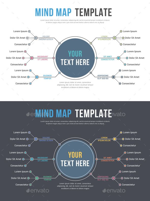 Absrtact mind map template  business infographics 2 Color versions  live text     free    fonts