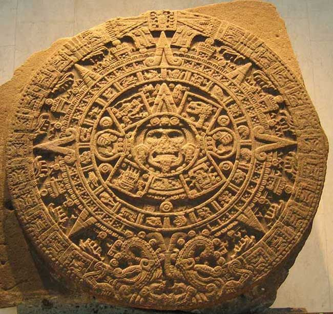 Aztec Calendar - Sun Stone  I have a small version of this. I originally bought it from my trip to Mexico (from my high school Spanish Club Tour, 1976), but I gave that one to my Mother.
