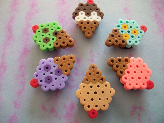 perler beads. Mini ice cream cones. Great use of the snowflake template!