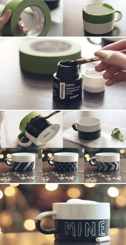 Una tazza realizzata con vernice lavagna per poter lasciare un messaggio carino in un occasione speciale ;)