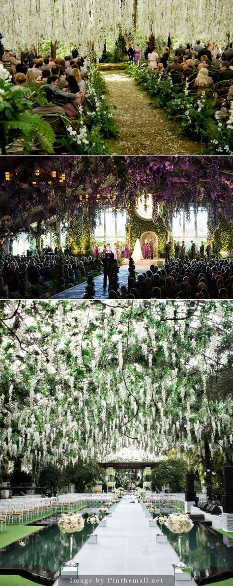 This reminds me of the wedding in the movie Twilight Breaking Dawn. The branches and flower from the roof creates an almost fairytale scene and would be perfect for a greenery wedding theme.