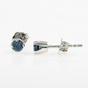 1/3 Ct Brilliant Cut Blue Diamond 14K White Gold Over Stud Earrings $999 by JewelryHub on Opensky