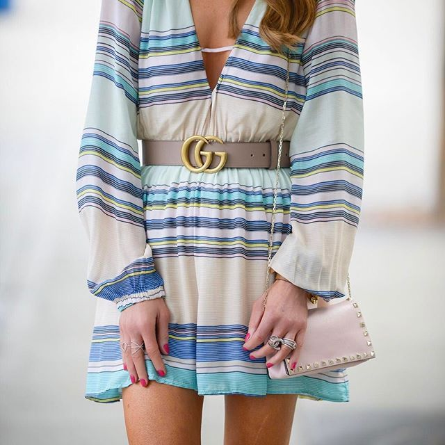 You guys! I could not be more in love with this dress!! How fun are the colorful stripes?!! Such a fun piece for any Spring or Summer soiree (or you could totally dress it down with simple flops for a beach party!) Hashtag obsessed happy mid-week, friends! Screenshot or 'like' this pic to shop the product details from the new LIKEtoKNOW.it app or you can shop this look directly here: http://liketk.it/2r4UJ @liketoknow.it #liketkit : @wearehalffull