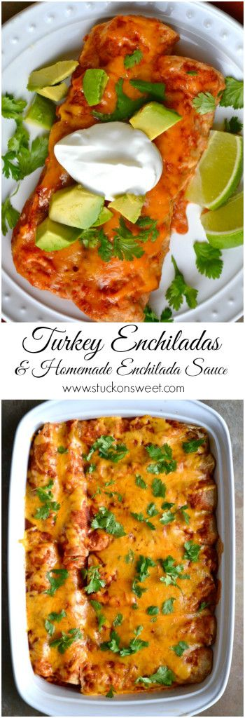 Turkey Enchiladas & Homemade Enchilada Sauce. A delicious and healthy dinner option, and the perfect meal for Cinco de Mayo! | www.stuckonsweet.com