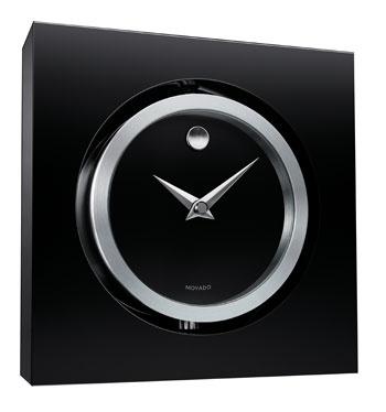 Movado Black Crystal Mantle Clock Ellen Glassman