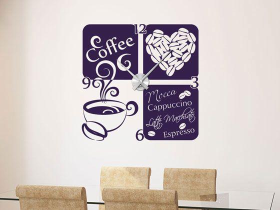 #Wandtattoo #Uhr mit #Uhrwerk #Wanduhr Küche #Kaffee Tasse Herz Kaffeebohne Zahl