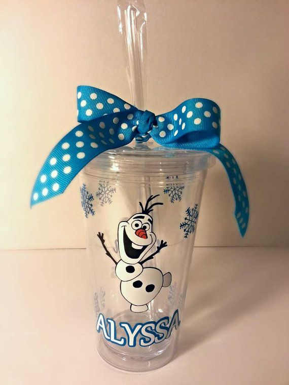 Personalized Olaf Frozen Vinyl Tumbler Cup by KimRamirezcreations, $14.00