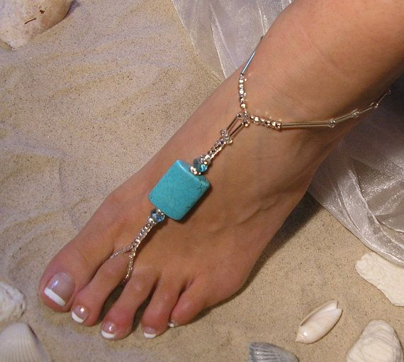 Crystal and Turqoise Barefoot Sandals Happi Feet Handmade Pair Nude Beach Wedding Shoes The Margie HF4 on Etsy, $65.00