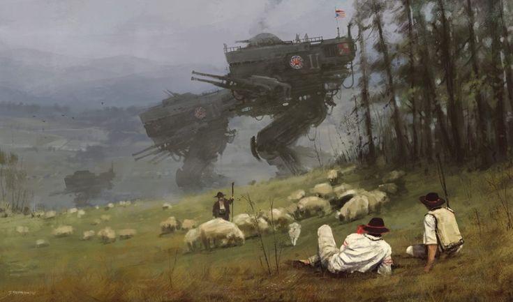 Художник Якуб Розальски (Jakub Rozalski) живет и творит в Гамбурге. Его картины — это настоящее путешествие в мир, где переплетаются прошлое, будущее и фантазия. Эпические битвы с футуристической военной техникой на фоне панорам из прошлого, мифические существа, от одного вида которых холодок пробегает по спине, — стиль рисования Розальски создает атмосферу сказочного и захватывающего сна. Как говорит сам художник, на создание каждой картины у него уходит примерно 30 минут.