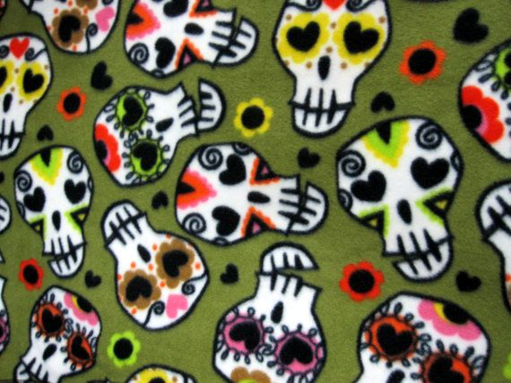 Olive Skulls very soft cuddly fleece throw by MaryAngelKidsCorner