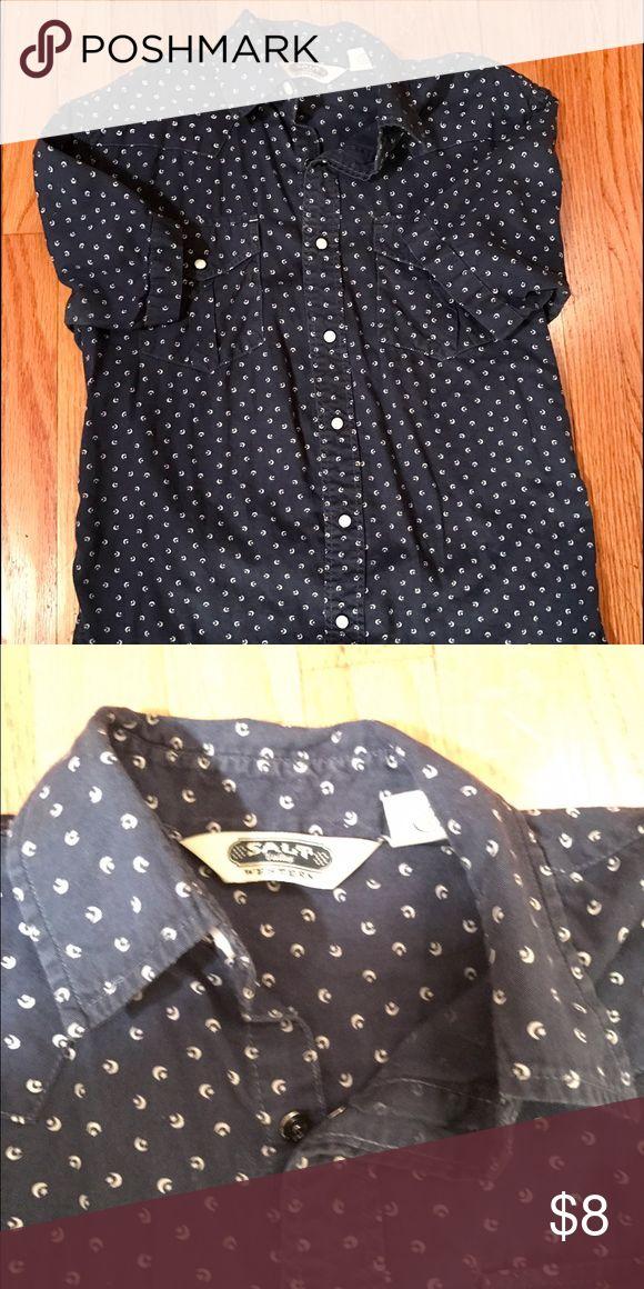 Men's blue patterned shirt Salt brand button up blue men's shirt. Shirts Casual Button Down Shirts