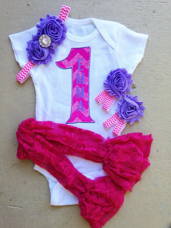 Pink and Puple Chevron Girl 1st Birthday Outfit - Includes: Iron-On #1, Headband, Lace Leggings and Barefoot Sandals - Smash Cake Photo on Etsy, $25.95