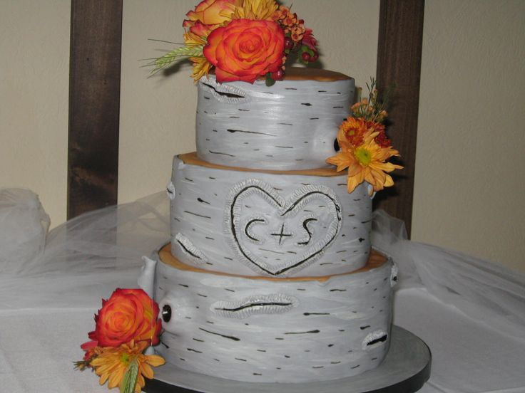 Birch Wedding Cake At The Peninsula Room Near Traverse City Michigan
