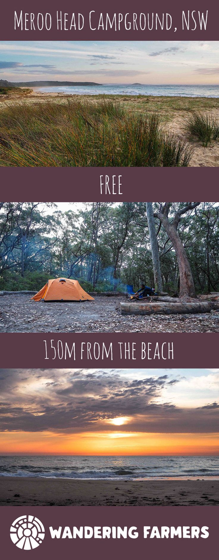 Meroo Head Campground, an amazing FREE beach campground in a NSW National Park.  Located south of Ulladulla #freecampground #australia