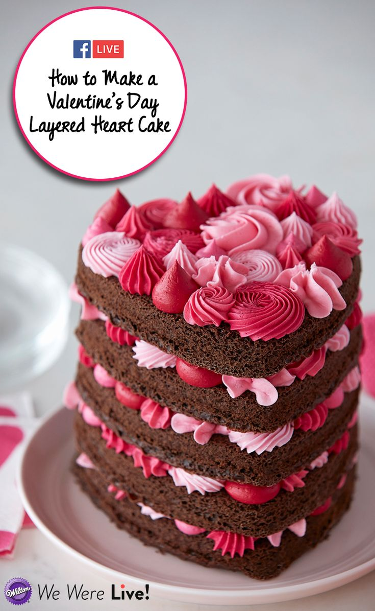 Click to watch and learn how to make this gorgeous buttercream layered heart cake! Share your piping skills with your friends and family with this representation of your love!  #wiltoncakes #facebooklive #heartcake #howto #videos #tutorial #cake #cakes #cakeideas #inspiration #heart #buttercream #piping #valentinesday #pink