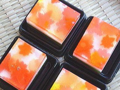 """上生菓子<楓(かえで)> Japanese sweets for autumn,""""Maple leaves""""."""