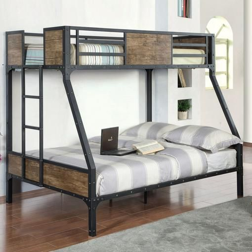 Buy 'Jennell' Industrial Twin-Over-Double Bunk Bed Online & Reviews