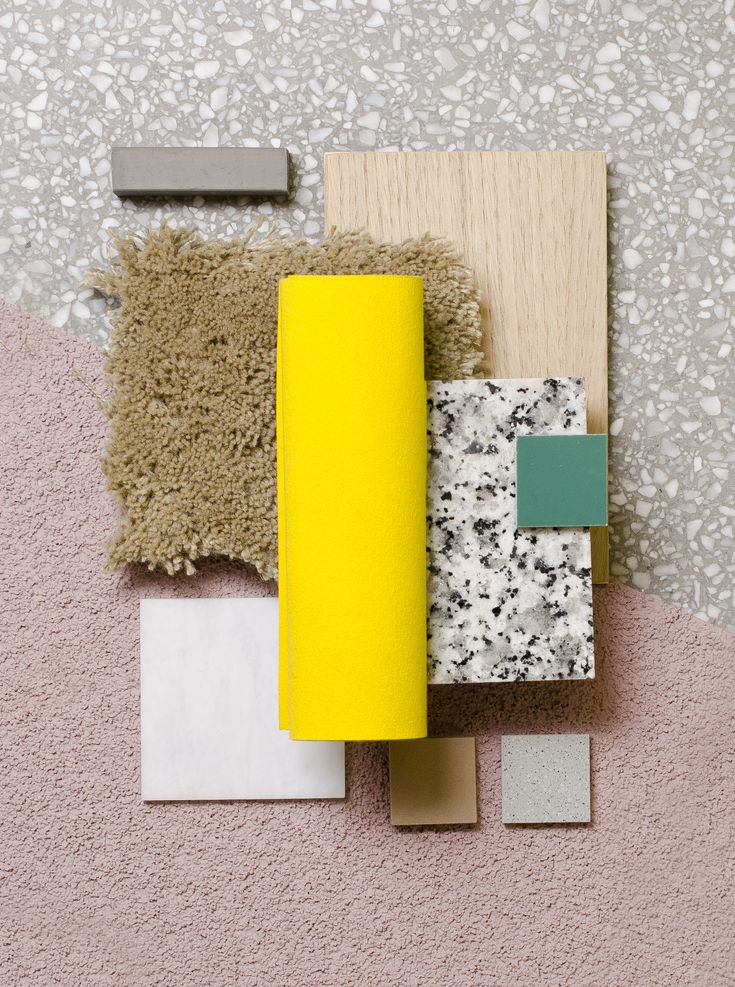 Weekly material mood 〰 Terrazzo Lemonade #yellow #terrazzo #carpet #stone…