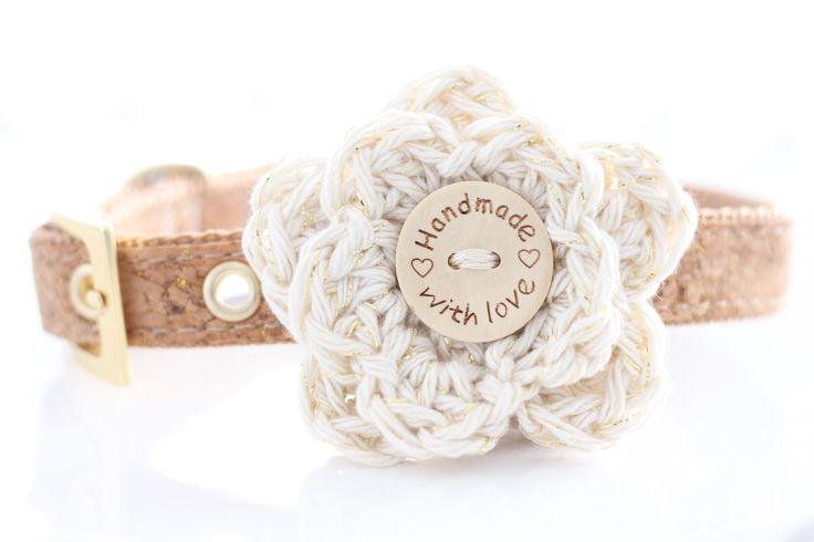 Cream & Metallic Gold Crochet Dog Collar Flower // Girl Dog Collar Accessory // Unique Dog Gift // Christmas Dog Acessories by HappyHaloa on Etsy